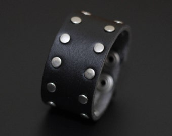 Artisan Handmade Accessory | Black Vegan Friendly Leather Studded Silver Snapper Cuff Bracelet