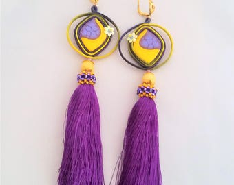 soutache earrings yellow purple, soutache, soutache jewelry, soutache jewels, handmade earrings, embroidered earrings, soutache embroidery
