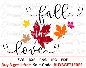 Fall Svg file Thanksgiving Svg Fall cut file Fall in love Svg sign Fall DXF Printable Fall clipart Autumn Fall leaves Svg Silhouette Cricut