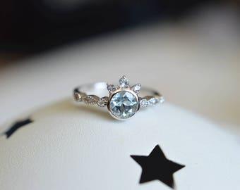Aquamarine Engagement Ring White Gold Aquamarine Engagement Ring 18k White Gold Aquamarine Ring 14k Rose Gold Aquamarine Wedding Ring