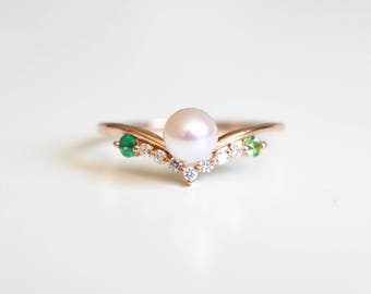 Pearl Engagement Ring Rose Gold Pearl Wedding Ring 14k 18k Rose Gold Pearl Ring Emerald Peridot Pearl Ring Akoya Pearl Engagement Ring