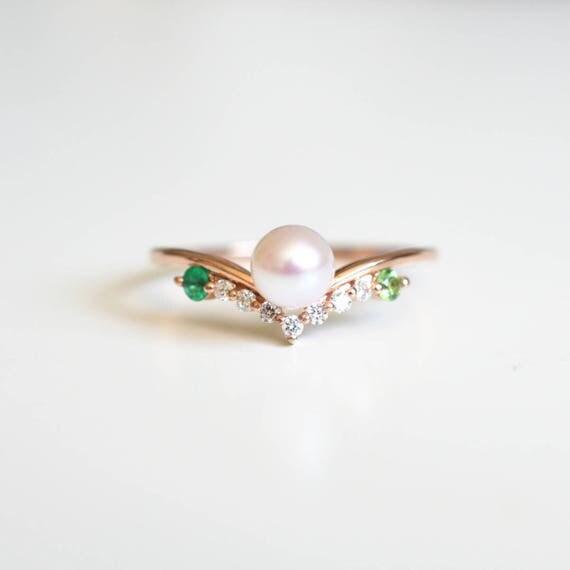 Pearl Engagement Ring Rose Gold Pearl Wedding Ring 14k 18k