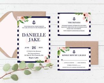 Nautical Floral Printable Wedding Invitation Suite, Anchor, Navy and Pink Custom Printable Wedding Invite Set