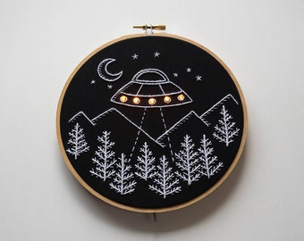 Pre-order black UFO with LEDS hand embroidery hoop art wall hanging