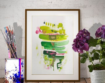 Green Abstract watercolor Original fine art painting Modern gold leaf art Abstract acrylic painting Original Mixed media gold leaf painting