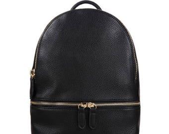 Minimalist Black Mini Contemporary Vegan Leather Backpack w/ Golden Zipper Closure, Mini Black Backpack