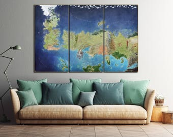 Game Of Thrones Color Map Leather Print/Game Of Thrones Seven Kingdoms Map/Ice and Fire/Game of Thrones Old westeros map/Better than Canvas!