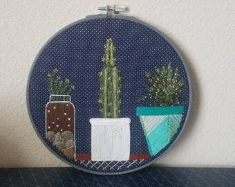 Succulent Embroidery Inspired by Rescue Cactus-embroidery hoop art 7 in diameter