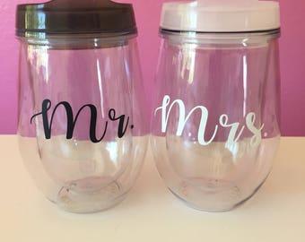 Mr. & Mrs. Stemless Wine Tumblers (2)
