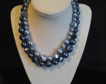 Vintage Two Strand Beaded Necklace, Blue Vintage Double Strand Beads