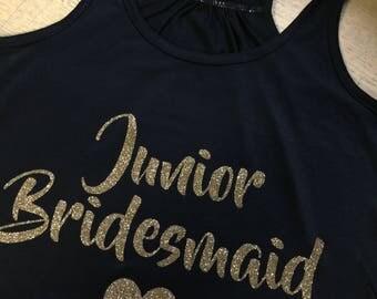 Junior Bridesmaid Custom -Bella Canvas Flowy Racerback Tank- Gold Glitter-Ships today!