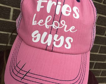 Fries Before Guys Hat-Custom Distressed Trucker Hat-Pink-New!