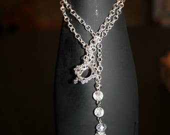 24 inch silver chain and crystal necklace