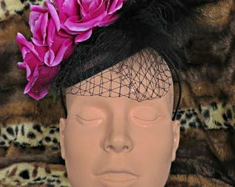 Summer Pink rose  Fascinator