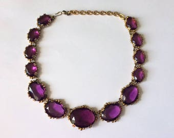 Vintage 1950's Purple Rivière Faceted Czech Glass Paste Rhinestone Anna Wintour Statement Necklace