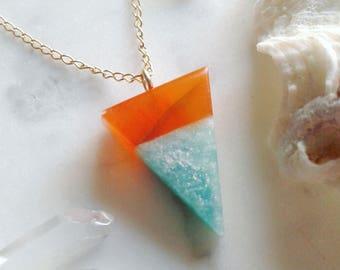 Orange Carnelian & Amazonite Triangle Pendant - Gold, Lapidary, Alchemy