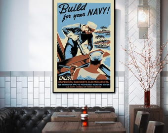 Navy Enlistment Poster, 24 x 36, Military, WPA Poster, Large Wall Art, Illustration, Gift for Navy Veteran