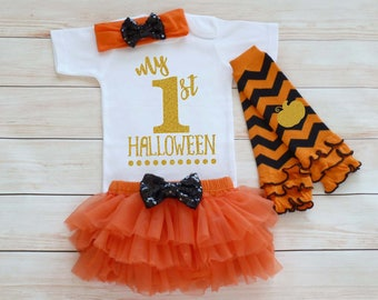 My First Halloween, Happy Halloween, Trick Or Treat Outfit, My 1st Halloween Baby Shirt, Baby Girl Halloween Bodysuit, Halloween Girls Shirt
