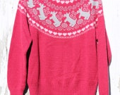 Long sleeve pullover knit sweater, red with grey scottie dogs and pink hearts, Ashley brand, 100% acrylic, large,