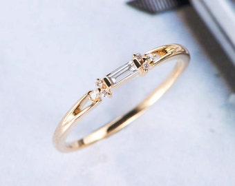 baguette cut diamond wedding band women cluster ring antique unique promise dainty yellow gold stacking anniversary - Wedding Ring Bands For Her