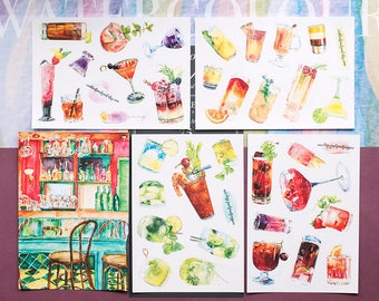 Watercolor cocktail stickers Postcrossing Cocktail watercolor stickers Bar art watercolor postcard Cocktail art stickers Bar postcard set