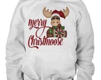 Merry Christmoose Kids Hoodie-Cute Kids Christmas Hoodie-Happy Holidays Hoodie-Kids Moose Hoodie-Christmas Gift for Kids