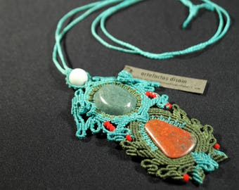 Powerful macrame necklace with Aventurine and Cuprite, handmade jewelry
