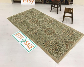 "3""7x7''ftVintage rug,Handwoven rug,Oushak rug,Turkish rug,faded rug,Flower desing rug,hallway rug,Handwoven rug,Anatolian rug,area rug."