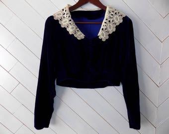 Vintage 1970's Dark Cobalt Velvet Jacket// Victorian// Bolero// Lace Collar// Vest