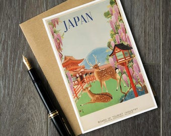 Japan travel poster, japan birthday card, japanese poster art, japan bon voyage card, japan retirement card, japan art prints, christmas art