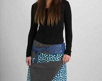 Reversible Blue Green Floral Corduroy Grey Black Square Print Wool Skirt Blue Denim Cotton Belt Long Length