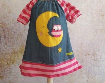 OWL denim tunic blue pink Moon OWL dress star Gr. 68-140, striped tunic, moon, Star, pink, pink, school dress, schooling, baptism, blue