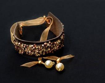 gold crystal leather bracelet