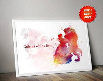 Beauty And The Beast, Watercolour,Poster, Print, Tale As Old As Time, Gift, Birthday,Belle, Beast, Disney,Be Our Guest,Mothers Day