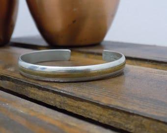 Vintage Sergio Lub Cuff Bracelet- Pure Metals- Silver and Copper