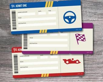 Printable Set of PDF Surprise Nascar Racing Tickets