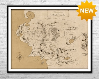 The Middle Earth Map - Lord Of The Rings Map Detailed map Canvas Print LOTR Wall Art Home Decor Multi panel Thorin map LOTR gift Tolkien map