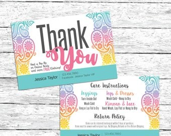 Care Card - Care Instructions - Lula Care Card - Return Policy - Pop-Up - Paisley - Thank You Card - Teal - Aqua - Pastel - Calligraphy