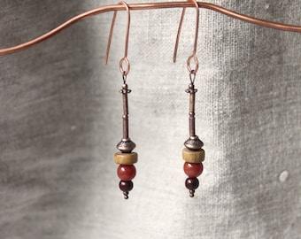 Rustic earrings • cherry • Jade rosewood • copper copper jewelry ethnic jewellery Bohemian earrings • • •