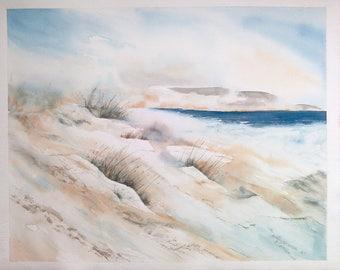 Aquarelle originale, peinture à l'aquarelle, paysage marin, bord de mer, dunes, fait main