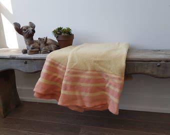 "Vintage Virgin Rustic Wool Blanket / 56"" x 80"" / Couch Living Room Cabin Rustic / Blanket Bedding Bed Coverlet Beige with Pink stripes"