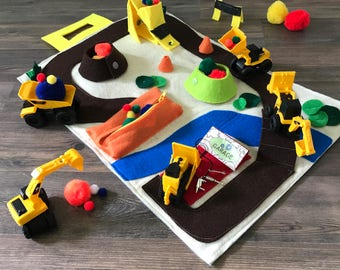 Construction Toys Quiet Book for Mini Excavator, Dump Truck & Digger. Educational Building Toys Play Mat - Best Toddler Boys Birthday Gifts