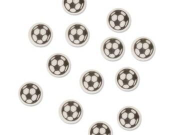 Mini Black and White Football Soccer Sugar Decorations - Cupcake, Cake, Cookie Sugar Decorations Toppers. Edible Footballs. Pack of 90.