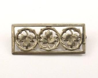 Vintage Three Maple Leafs Pin/Brooch 925 Sterling BB 895