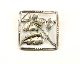 Vintage Blossom Square Pin/Brooch 925 Sterling Silver BB 911