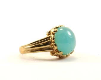 Vintage Round Blue Chalcedony Stone Ring 925 Sterling Silver RG 409