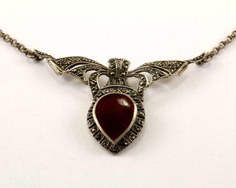 Vintage Carnelian & Marcasite Design Necklace 925 Sterling Silver NC 462