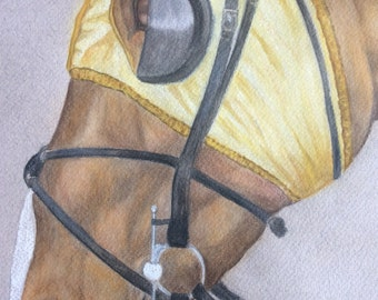 ORIGINAL racehorse pastel drawing picture