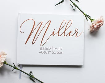 Wedding Guest Book, Rose Gold Foil Wedding Guest Book, Custom Wedding Guest Book, Customizable, Horizontal