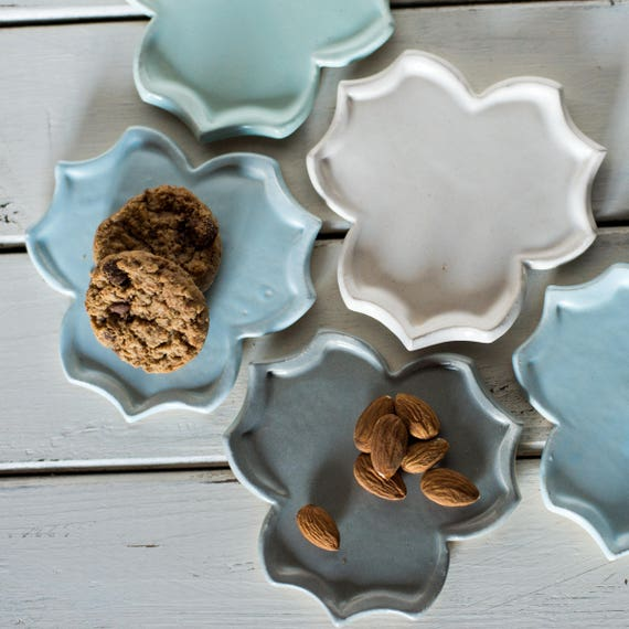Handmade Ceramic Tessellating Tray Spoon Rests Tea Bag Holders Coasters Ready to Ship